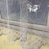 Короткая тюль для спальни из фатина ALBO 300x160 cm Бело-зеленая (KU-125-8), фото 3