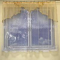 Короткая тюль для спальни из фатинаALBO 300x160 cm Бело-бежевая (KU-125-0-2), фото 1