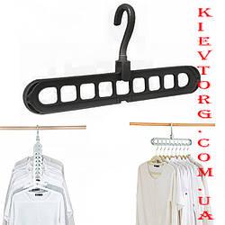 Вешалка плечики - органайзер для одежды. Чудо вешалка для дома в шкаф черная