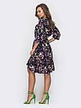 Платье миди с рукавом три четверти в цветочном принте темно-синий, фото 4