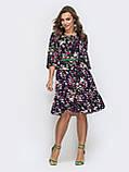Платье миди с рукавом три четверти в цветочном принте темно-синий, фото 3