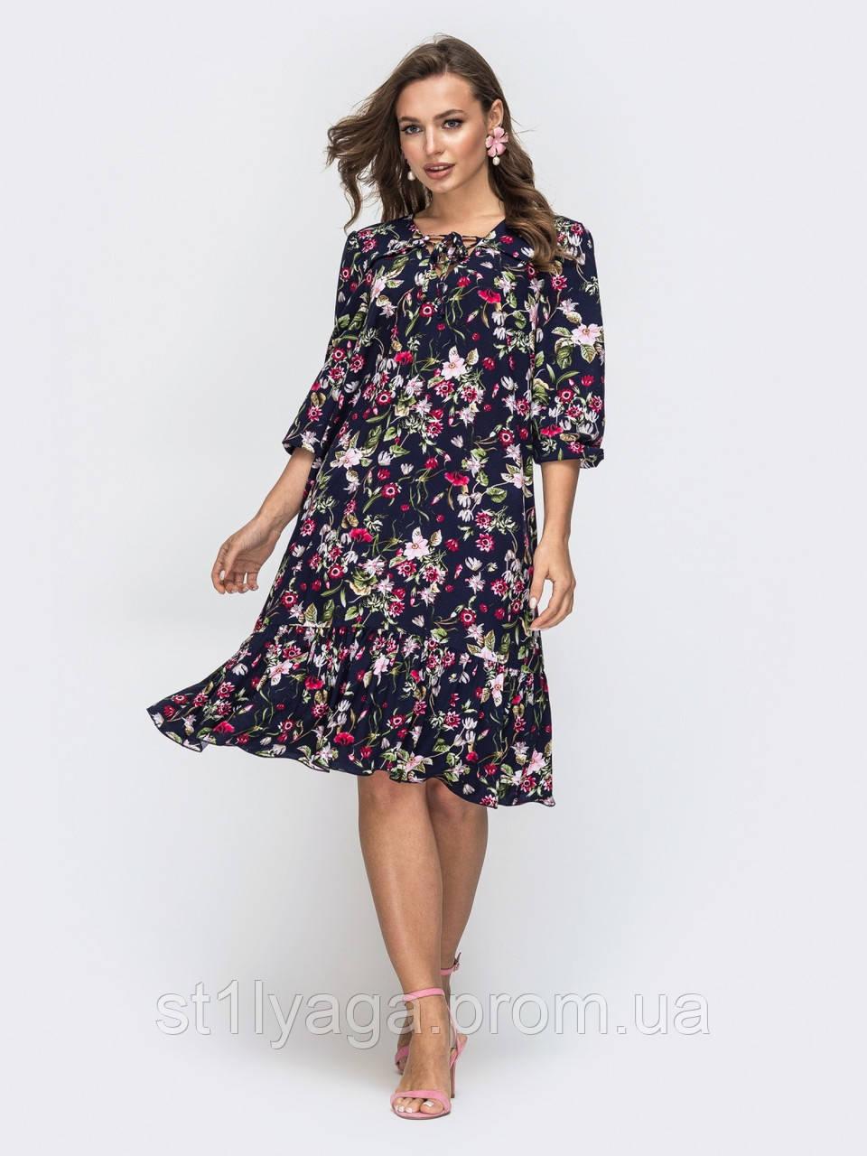 Платье миди с рукавом три четверти в цветочном принте темно-синий