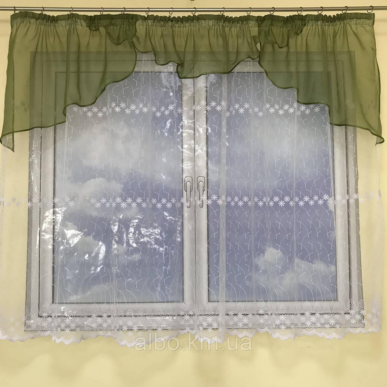 Короткая тюль для спальни из фатинаALBO 300x160 cm Бело-темно-зеленая (KU-125-0-9)
