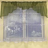 Короткая тюль для спальни из фатинаALBO 300x160 cm Бело-темно-зеленая (KU-125-0-9), фото 1