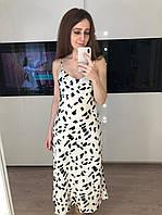 Довга атласна сукня з принтом