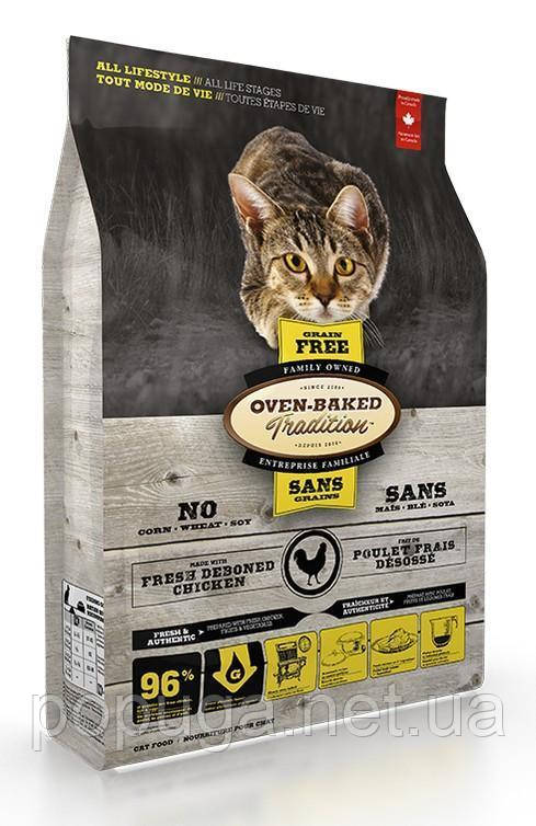 Oven-Baked Tradition Grain-free Adult Cat Chicken беззерновой сухой корм для взрослых кошек с курицей, 4,54 кг