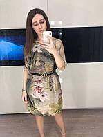 Летнее шифоновое платье с  кувшинками