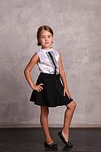 Школьная юбка для девочки Школьная форма для девочек Blue Whale бант 140128 ,, черный,