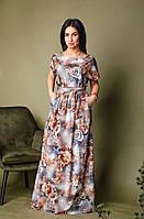 Длинное модное летнее платье больших размеров , платье с коротким рукавом и сьемным поясом.