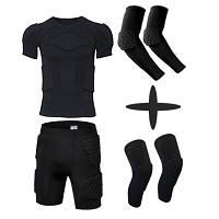 Комплект Защитный шорты+футболка+нарукавники+наколенники тренировочная одежда