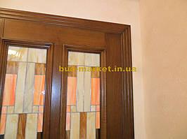 Установка межкомнатных дверей с витражными стеклами + подрезка и монтаж плинтусов 15