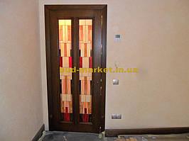 Установка межкомнатных дверей с витражными стеклами + подрезка и монтаж плинтусов 26