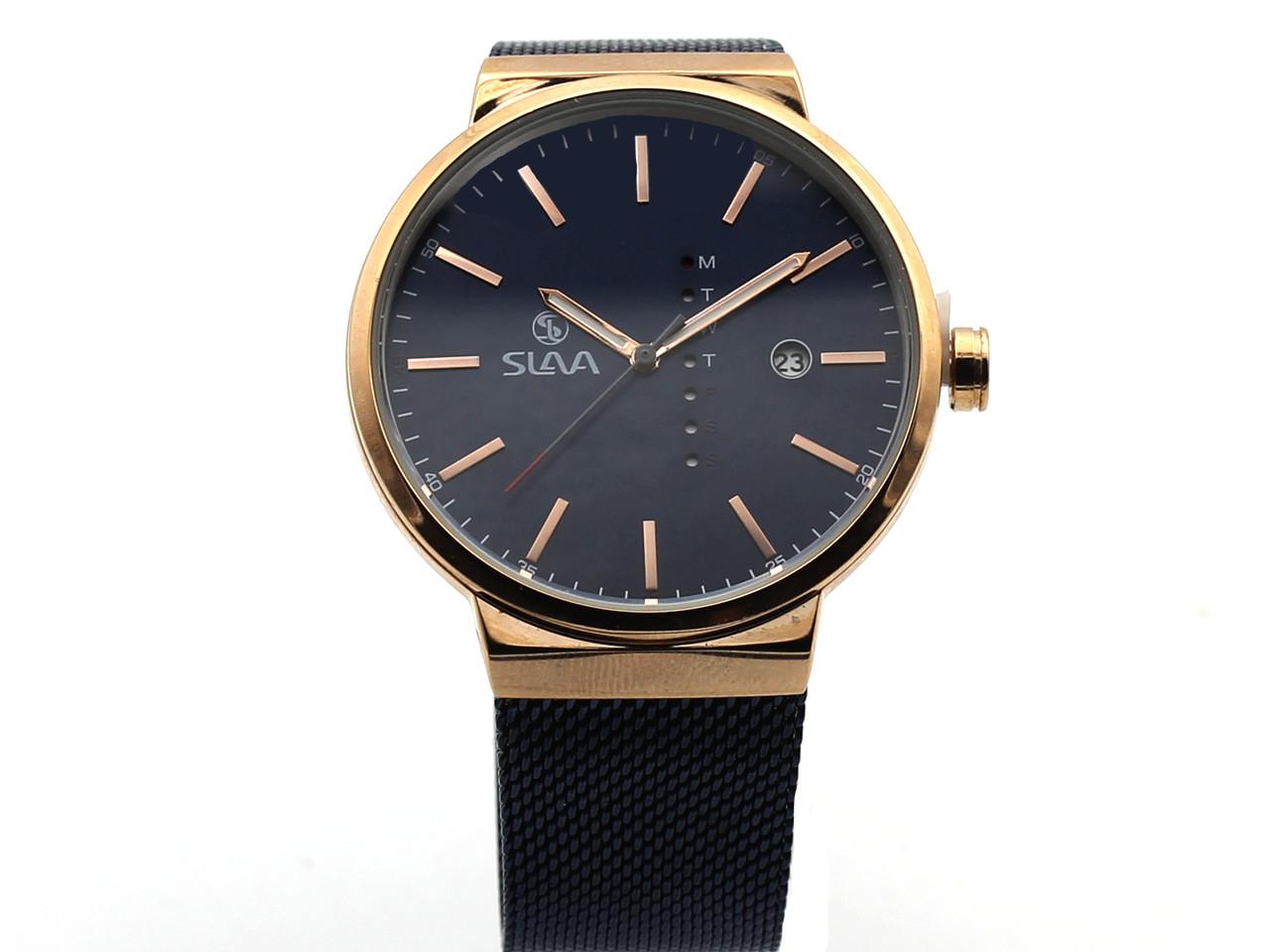 Часы кварцевые Slava, черный циферблат, бронзовый цвет корпуса, металлический браслет (19346)