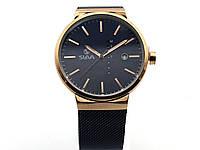 Часы кварцевые Slava, черный циферблат, бронзовый цвет корпуса, металлический браслет (19346), фото 1