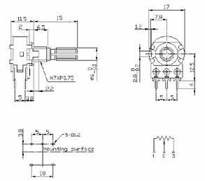 Резистор переменный 2 кОм сдвоенный металл, фото 2