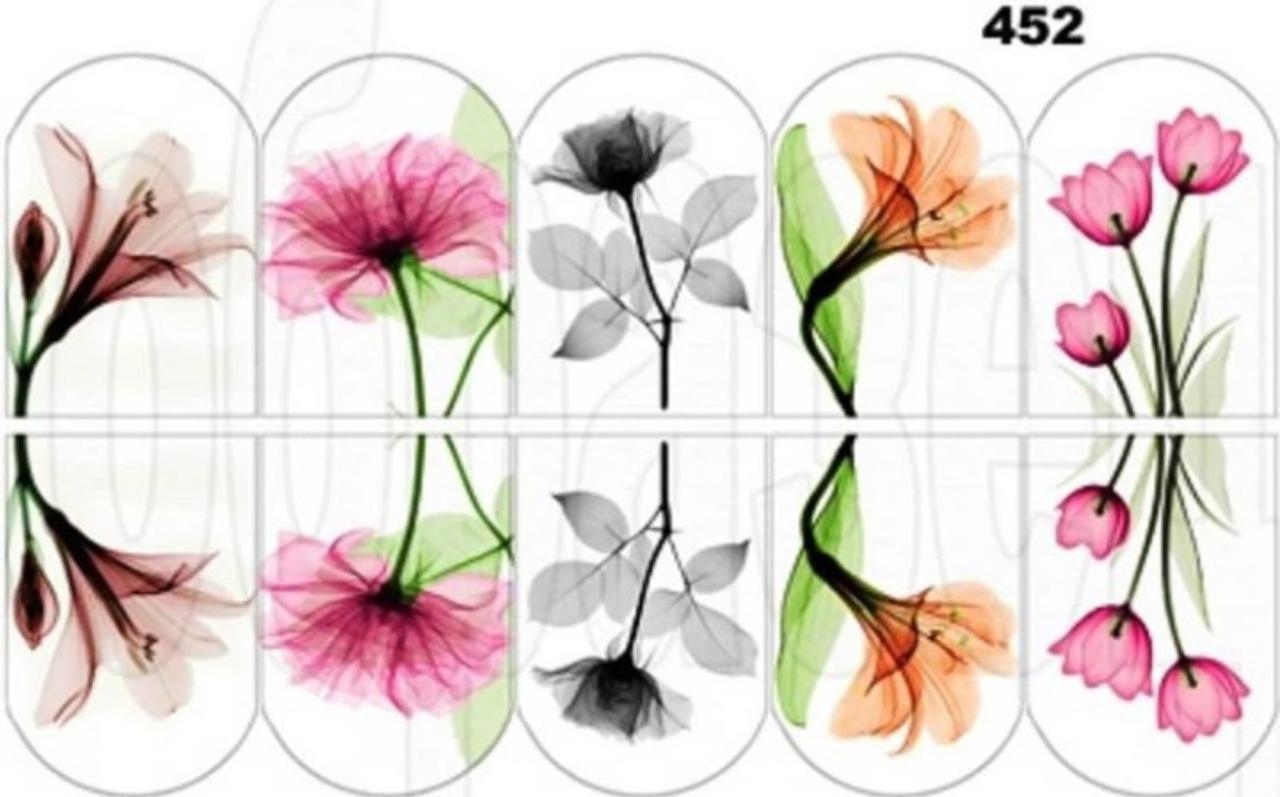 Водные наклейки (слайдер дизайн) для ногтей 452