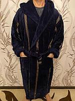 Мужской халат с капюшоном  натуральный