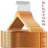Вешалки плечики тремпеля деревянные VIP для одежды, свитеров, рубашек, платьев лакированные, 44 см (Икея)