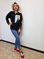 Черная женская рубашка с фотопринтом X&T