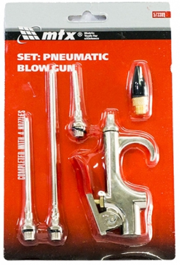 Набор продувочный пистолет, пневмат. в комплекте с насадками, 4 шт. MTX 573389