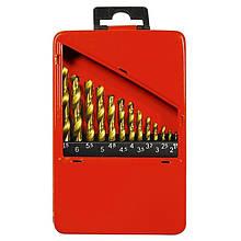 Набор нитридтитановых сверл по металлу MTX 1,5-6,5 мм (через 0,5 мм+3,2мм; 4,8 мм), НSS, 13 шт.  723869
