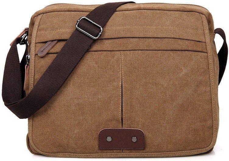 Сумка мужская Vintage 14445 текстильная Коричневая, Коричневый