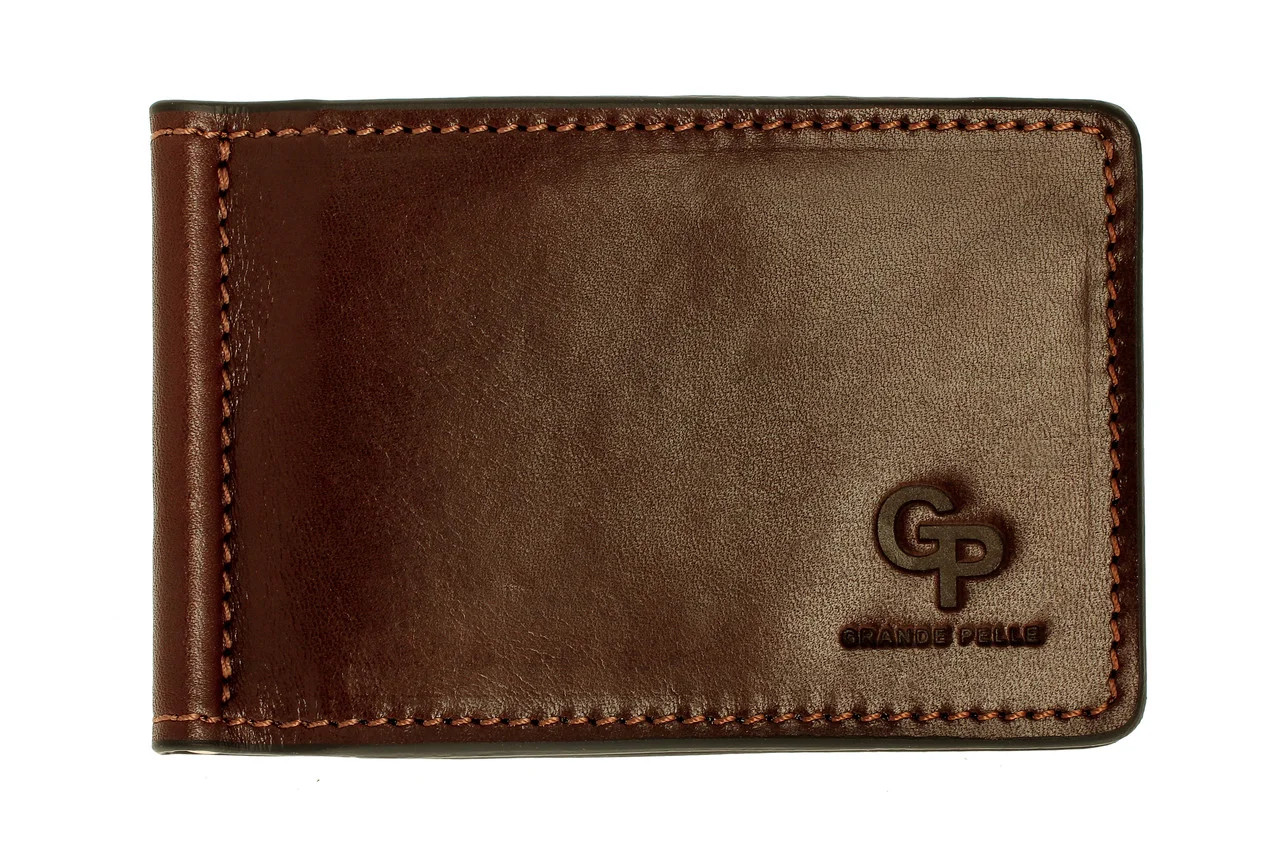 Зажим кожаный ONDA с монетницей Grande Pelle GP125620 коричневый (12234)