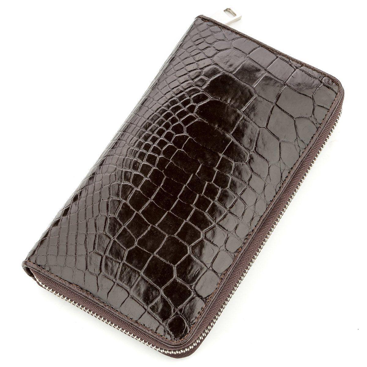 Мужской клатч CROCODILE LEATHER 18527 из натуральной кожи крокодила Коричневый, Коричневый