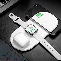 Беспроводная зарядка для айфона/наушников/часов AirPower New 3в1 USB Type-C с адаптером Qualcomm Quick Charge
