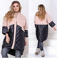 Весенняя женская батальная куртка на молнии, размер универсальный 52-56