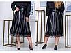 Батальная  юбка из эко-кожи,эко-кожа, низ декорирован  кружевом,сзади застежка молния, размеры:48-52, 54-58, фото 2