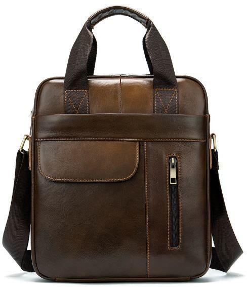 Вертикальная сумка мужская Vintage 14787 Светло-коричневая, Коричневый