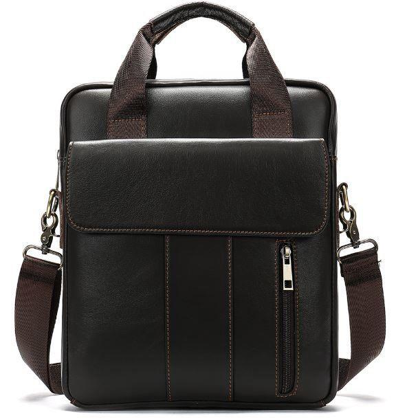 Вертикальная сумка мужская Vintage 14788 Коричневая