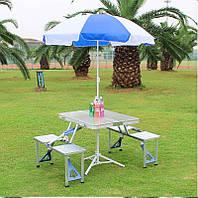 Складной столик для пикника на 4 человека с отверстием для зонтика, Туристический алюминиевый столик с стульям