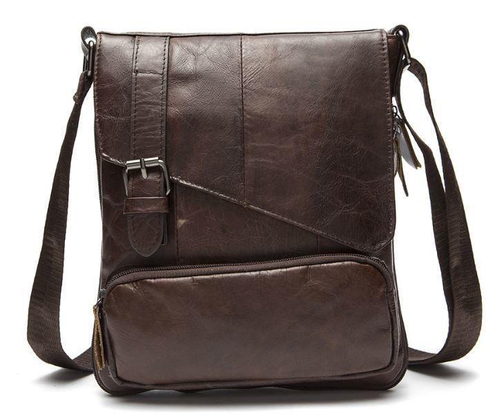 Стильная мужская кожаная сумка Vintage 14847 Коричневая, Коричневый