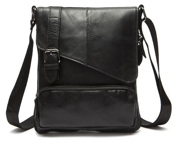 Стильная мужская кожаная сумка Vintage 14848 Черная, Черный