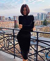 Женское приталенное бархатное платье с воротником-стойкой, фото 1