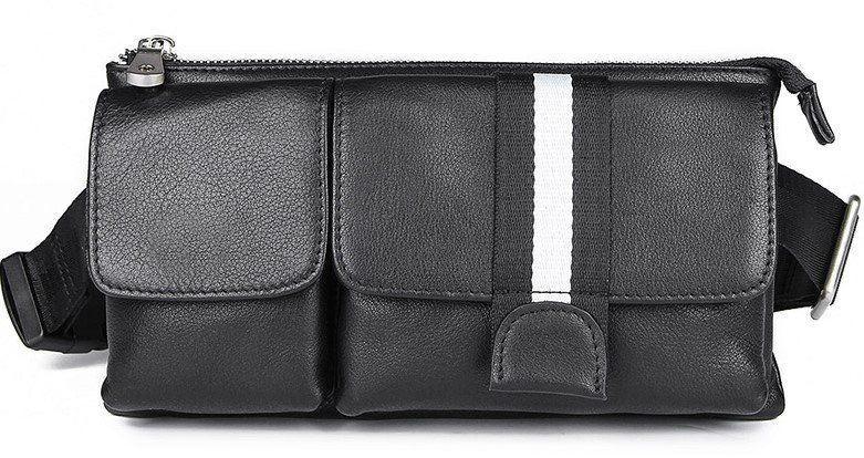 Сумка поясная кожаная Vintage 14953 Черная, Черный