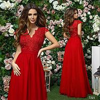 Платье красивое вечернее длинное габардин+гипюр+сетка 42,44,46
