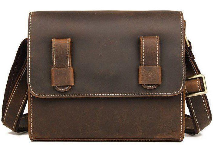 Cумка мужская-почтальонка в винтажной коже Vintage 14980 Коричневая, Коричневый