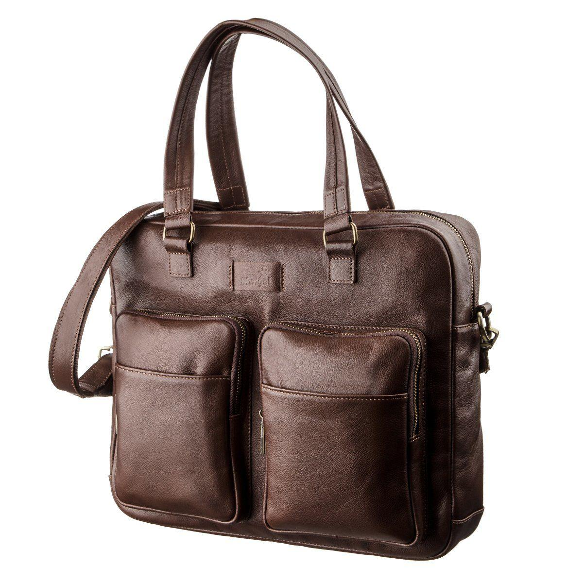 Мужская кожаная дорожная сумка для ноутбука SHVIGEL 19109 Коричневая, Коричневый