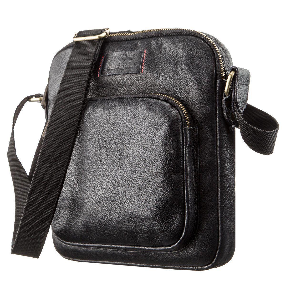 Мужская кожаная сумка SHVIGEL 19111 Черная, Черный