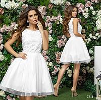 Платье вечернее пышное короткое без рукав габардин+гипюр 42,44,46