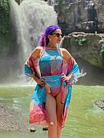 Жіночий закритий купальник з сіточкою XS-XXXL рожево-блакитний Захід Сонця /женский слитный купальник с сеткой