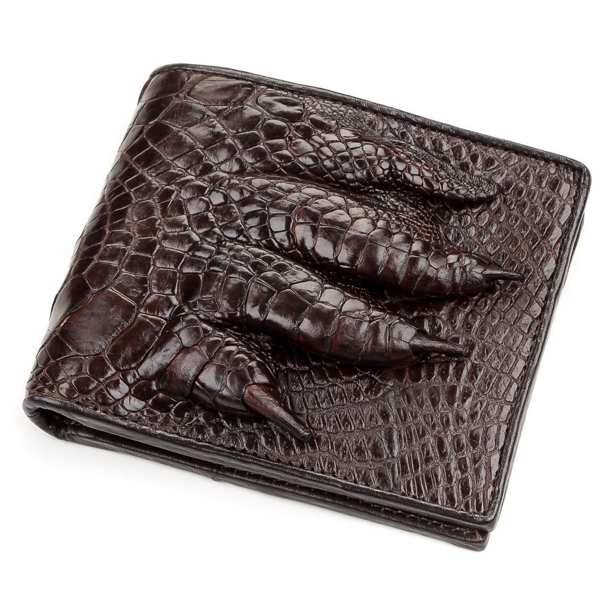 Портмоне CROCODILE LEATHER 18196 из натуральной кожи крокодила Коричневое