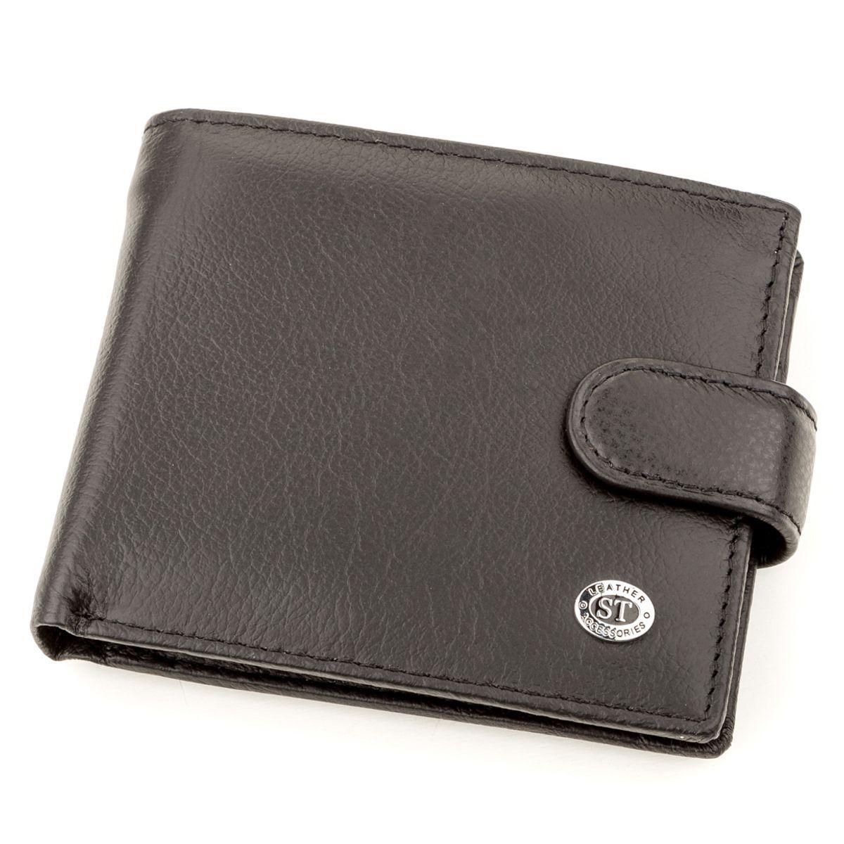 Мужской кожаный купюрник ST Leather 18308 (ST104) Черный, Черный