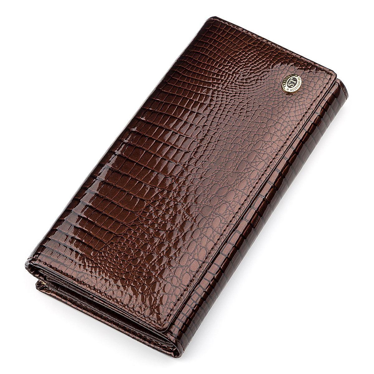 Кошелек женский ST Leather 18396 (S3001A) лакированная кожа Коричневый, Коричневый