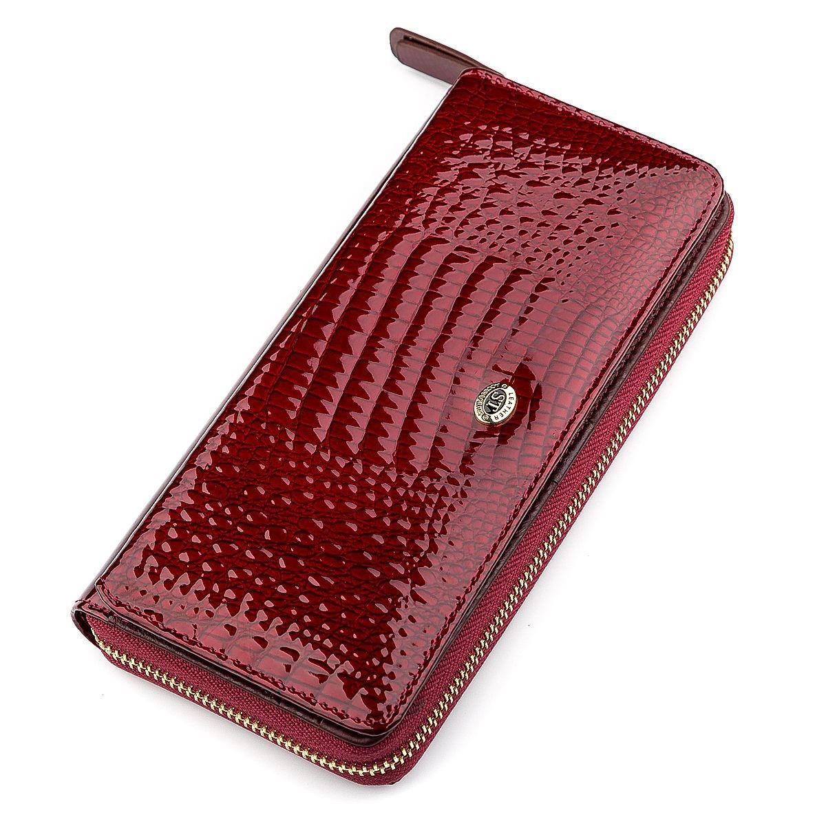 Кошелек женский ST Leather 18434 (S7001A) на молнии Бордовый, Бордовый