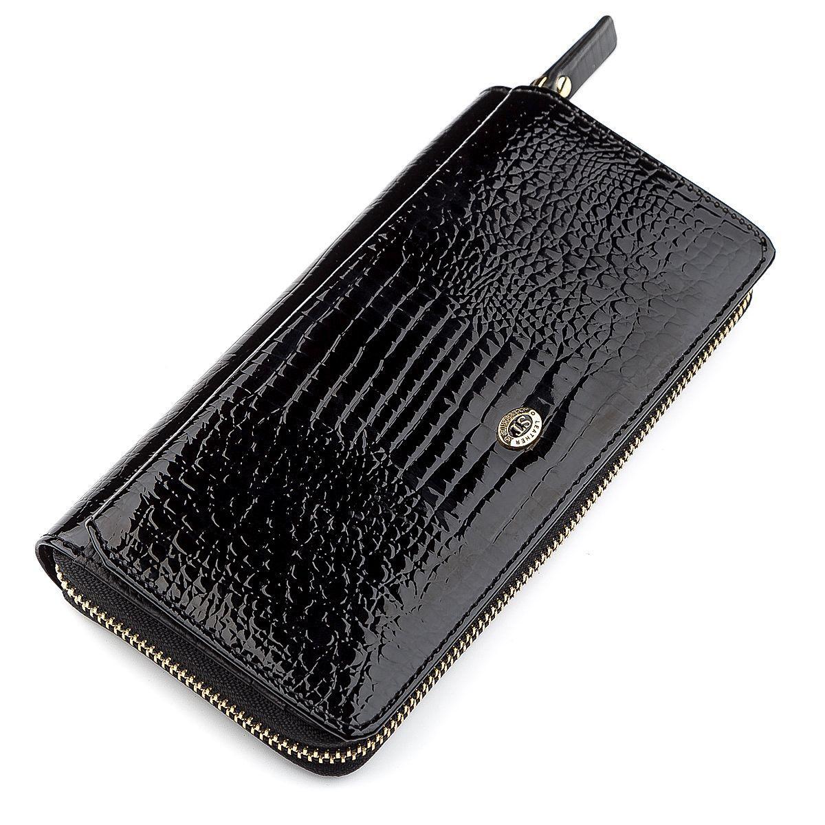 Кошелек женский ST Leather 18437 (S7001A) натуральная кожа Черный, Черный
