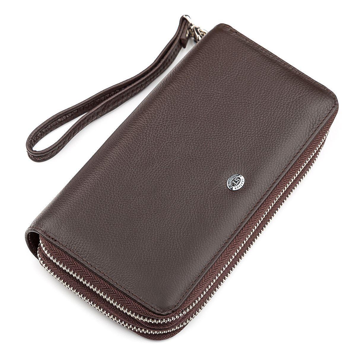Мужской кошелек ST Leather 18450 (ST127) две молнии Коричневый, Коричневый